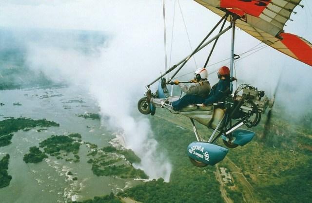 Africa bucket list experience taking microlight flight over Victoria Falls
