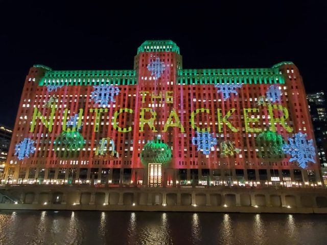 Art at the Mart light show during the Christmas holiday season