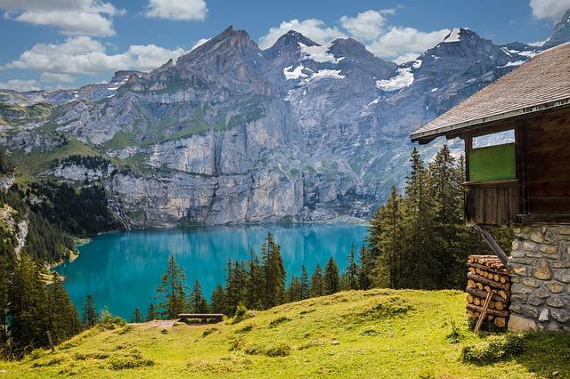 hut lake oeschinen bergsee lake