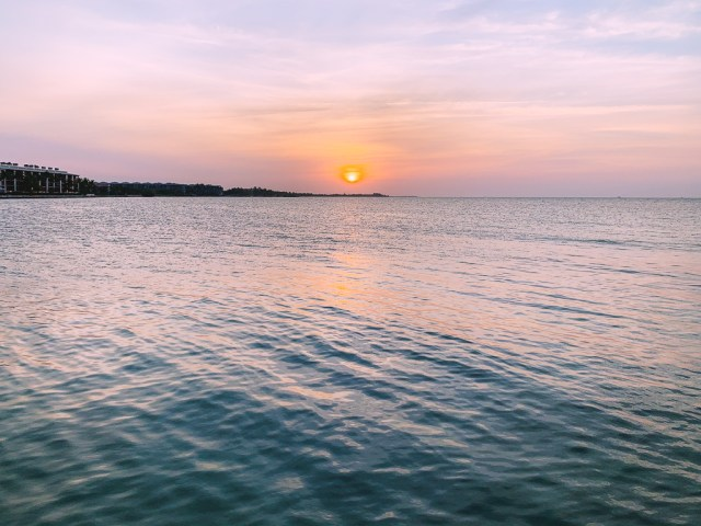 sunrise from pier at Higgs Beach