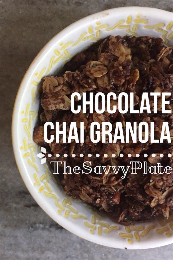 Easy and healthy homemade granola recipe with chocolate and chai flavors, great with milk or yogurt!
