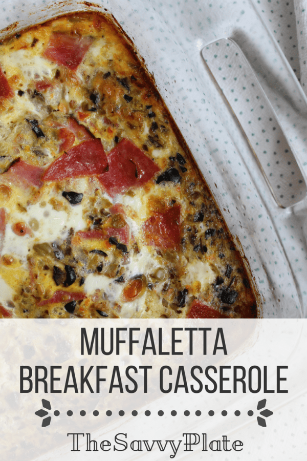 Filled with eggs, salami, ham, provolone, and olives, this breakfast casserole is inspired by the vibrant flavors and ingredients of a classic New Orleans muffaletta sandwich.