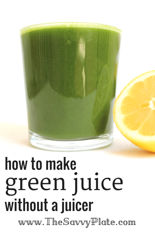 {how to make green juice without a juicer} Packed with fresh fruit and nutritious veggies, this green juice tastes much like what you'd buy at a juice bar, but it's made at home in a blender and for a fraction of the cost!