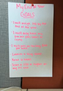 My yearly goals are posted at my desk to remind me of them daily!