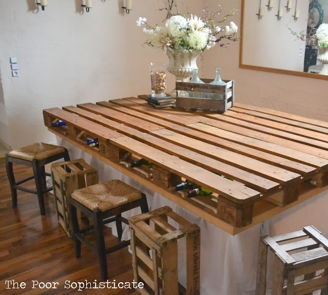 27 DIY Pallet Furniture Ideas - Amazing and Affordable Kitchen Pallet Table Ideas on pallet storage ideas, pallet towels ideas, pallet bathtub ideas, pallet ottoman ideas, pallet painting ideas, pallet bookcase ideas, pallet fireplace ideas, pallet lamp ideas, pallet cabinet ideas, pallet bath ideas, pallet vanity ideas, paint kitchen table ideas, pallet tv stand ideas, pallet chair ideas, pallet garden ideas, pallet living room ideas, pallet coat rack ideas, pallet kitchen storage, pallet kitchen furniture, pallet entertainment center ideas,