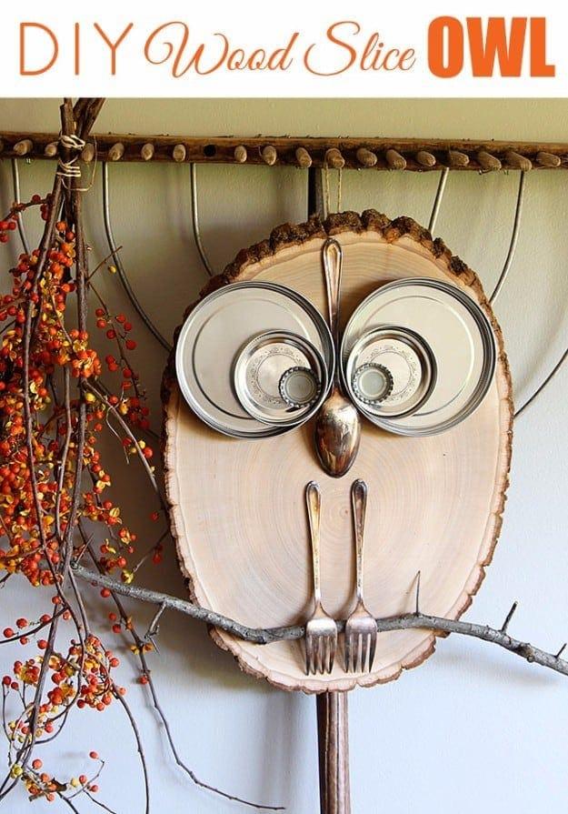 wood slice owl