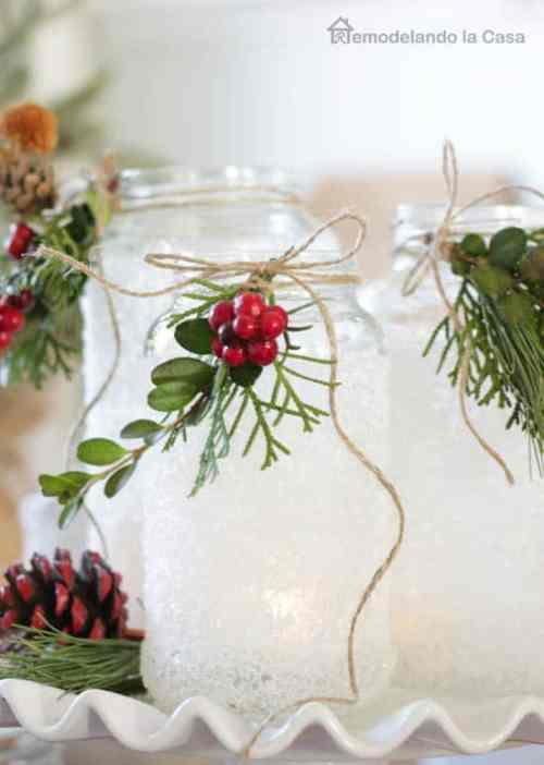 Faux Snow Christmas Jars