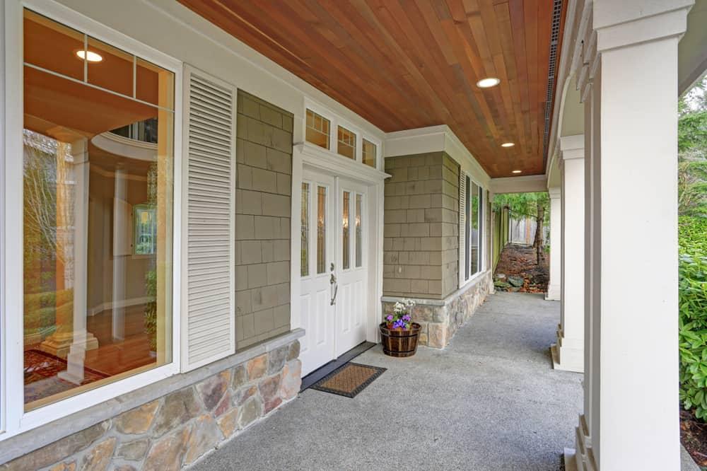 wood roof brick detail porch