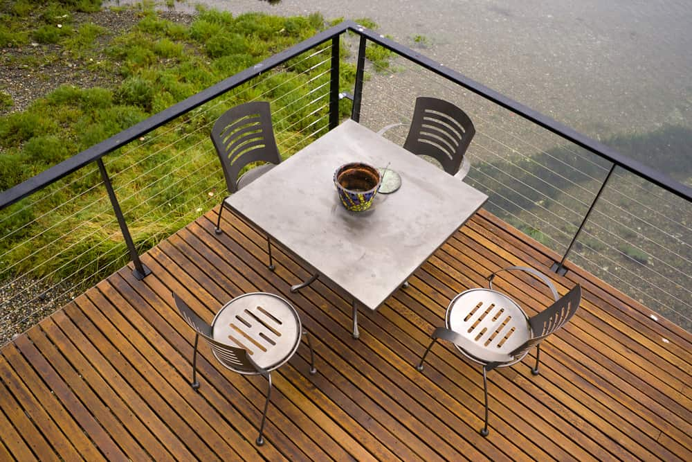 metal chairs and railing