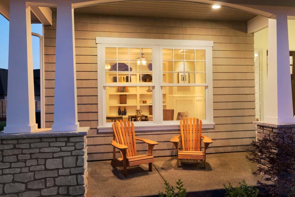 columns cement wood chairs windows