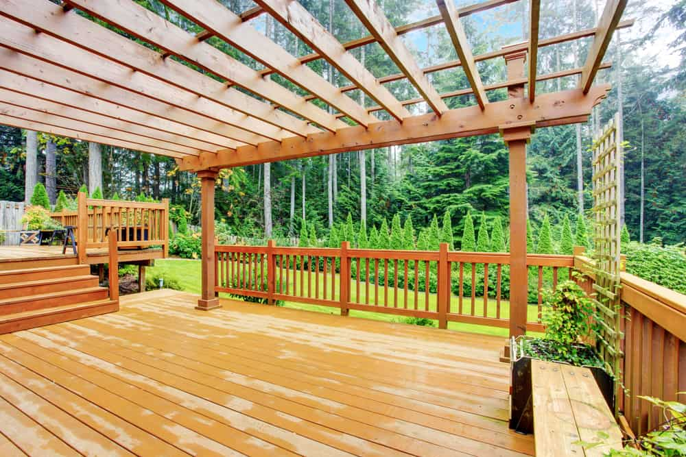 light wood with darker railing
