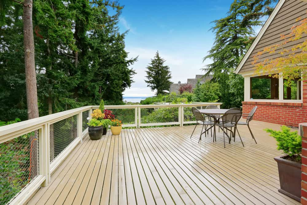 white open railing and deck