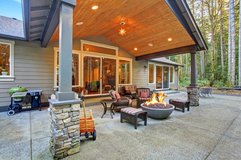 columns and bowl firepit