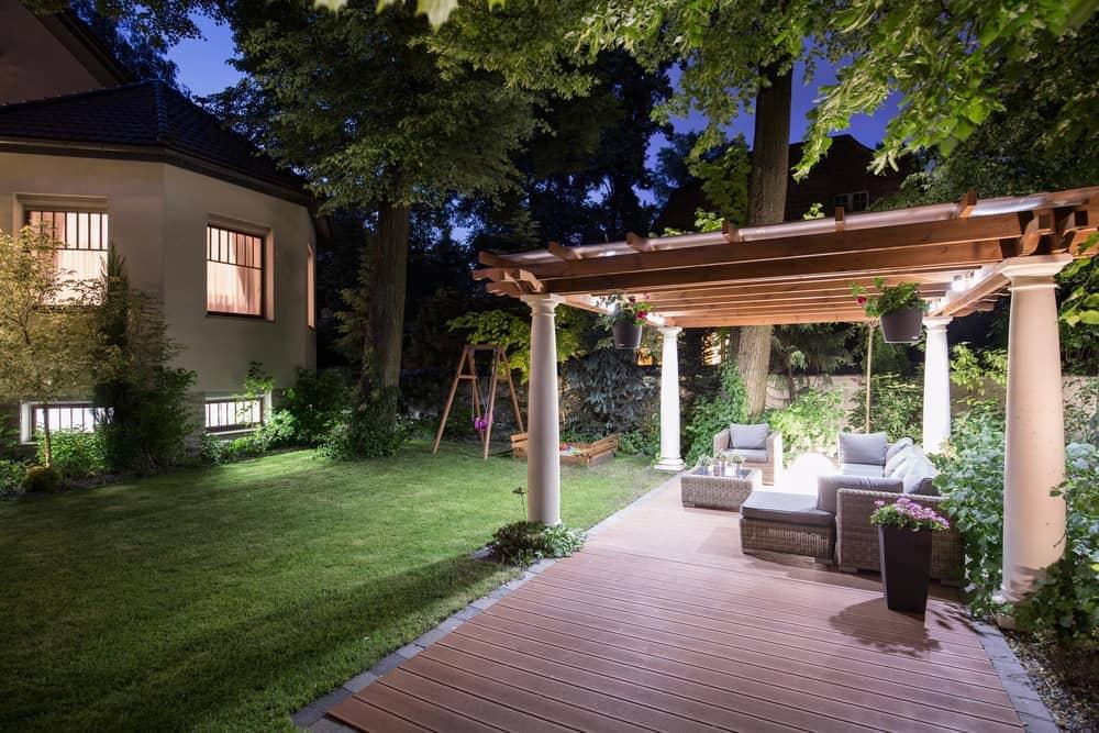 half covered night patio