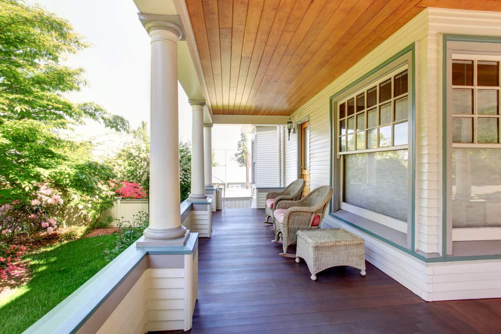 homey wicker and wood porch