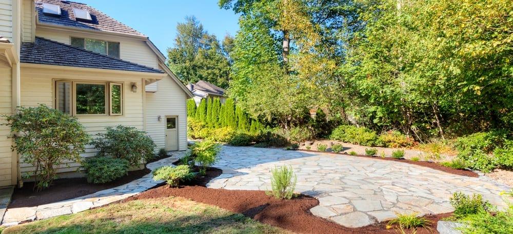 white stone patio