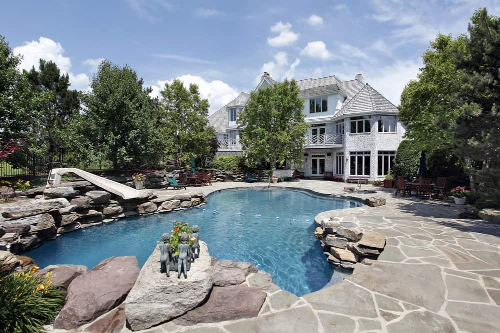 stone patio inset pool