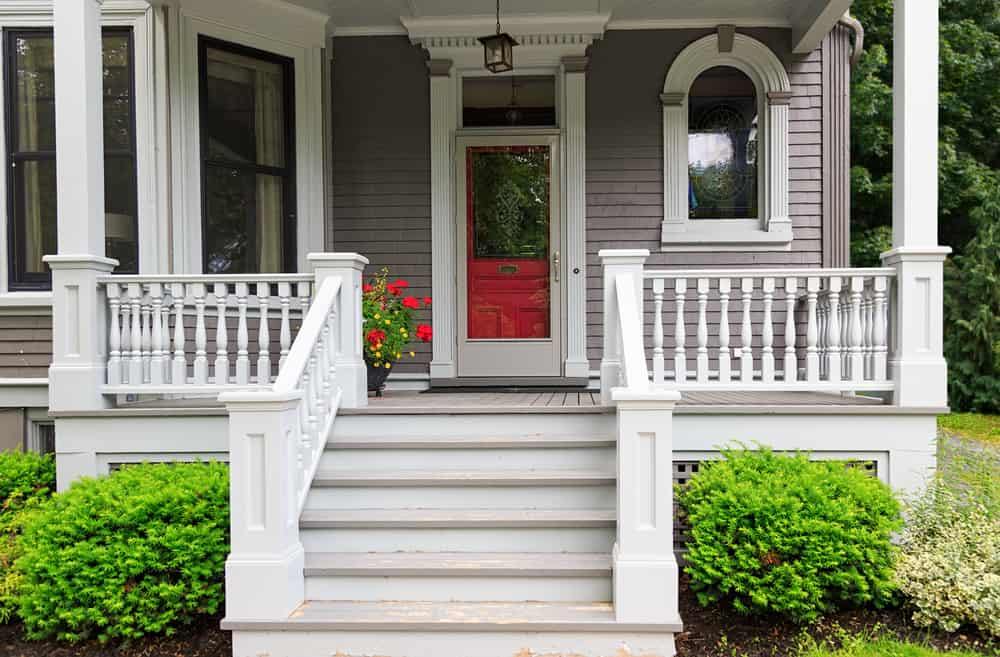 porch stairs white and red