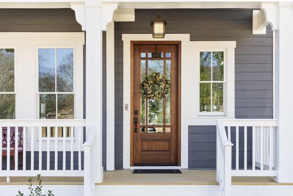 windows door wreath grey white porch