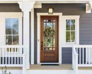 windows door wreath grey white porch