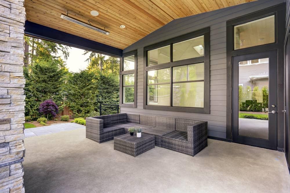 monochrome grey sectional patio
