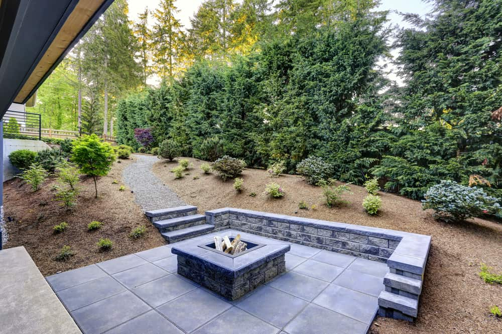 square angular fire pit patio
