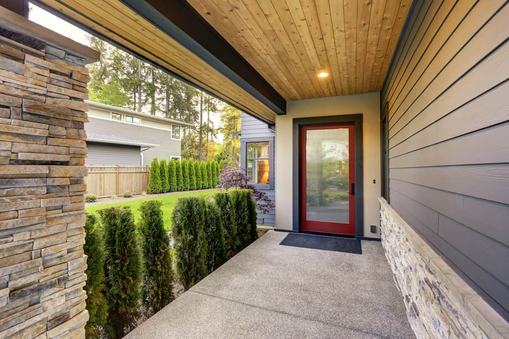 bushes cement wood ceiling