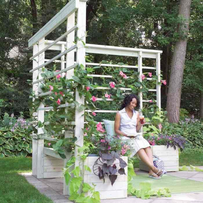DIY Arbor With Built-In Benches Your backyard is going to be so beautiful and you will have a lot of additional seating when you make this arbor with built-in benches. Use climbing plants for a pop of vibrant color. I know it looks like a lot of work, but it is surprisingly easy to make. thesawguy.com