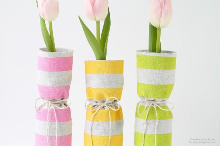 Fabric Covered Spring Vases When spring is in the air then it is time to start decorating too! These easy fabric covered spring vases are just what you need to add a few pops of color to any room.thesawguy.com
