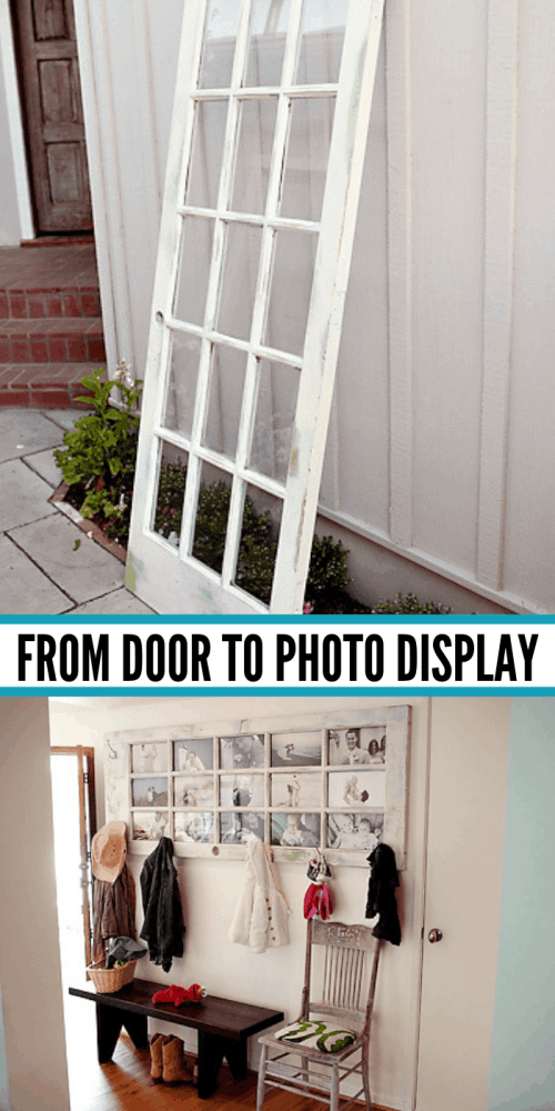 Old door into photo display - These furniture hacks will turn outdated and old furniture into treasured pieces. From little to no money you can have creative furniture statements throughout your home. thesawguy.com