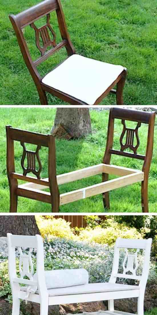 Turn your old chairs into a creative bench - These furniture hacks will turn outdated and old furniture into treasured pieces. From little to no money you can have creative furniture statements throughout your home. thesawguy.com