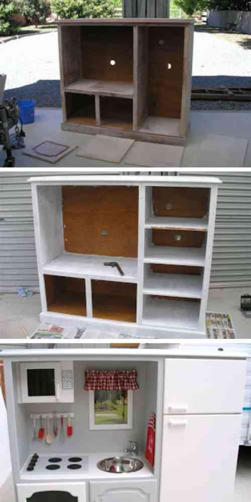 DIY Play Kitchen Project- These furniture hacks will turn outdated and old furniture into treasured pieces. From little to no money you can have creative furniture statements throughout your home. thesawguy.com
