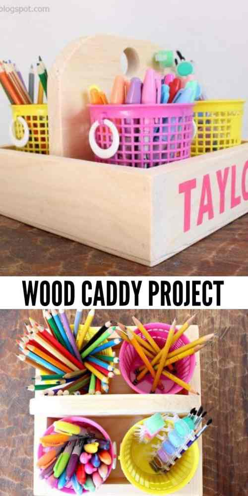 Kids craft caddy to stay organized. Quick and easy wood project for the whole family