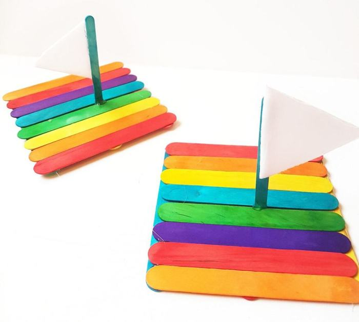 Floating Rainbow Popsicle Raft Craft Easy to follow directions to make this floating rainbow popsicle raft craft. You can even have raft races with the kids once you are all done. Each one can be customized based on your color preferences.thesawguy.com
