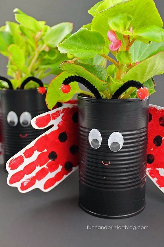 Ladybug Plant Holder Make this fantastic ladybug plant holder out of a recycled tin can. Plus, the wings are made from tracing your little one's hands. There can't be anything more adorable! These would make wonderful May Day gifts too.thesawguy.com