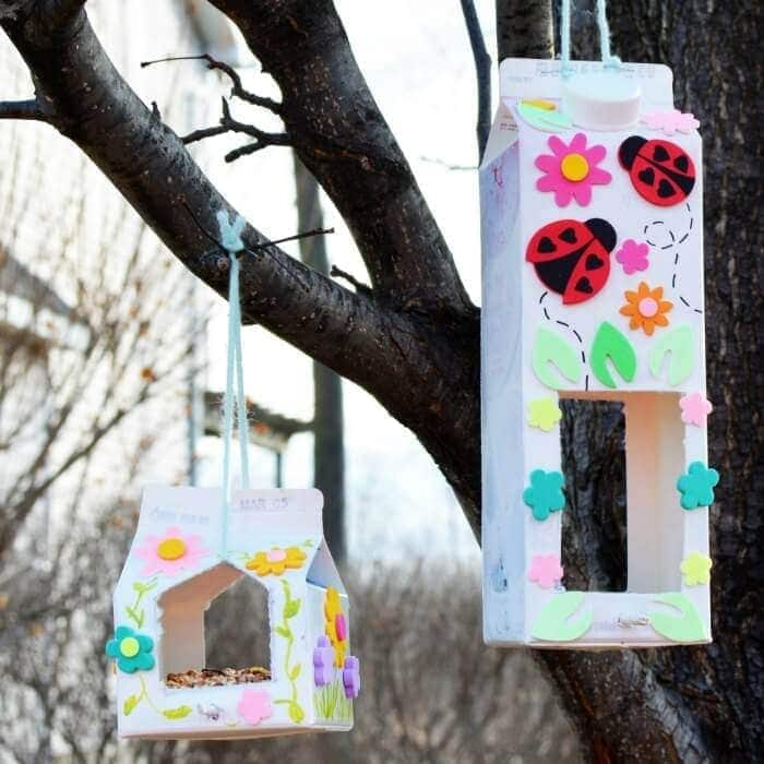 Homemade Bird Feeder Make a homemade bird feeder out of milk cartons. Add as much pizzazz, stickers, and bling as you wish. Each one can be completely different and unique. Get the kids together and get to work being creative.thesawguy.com