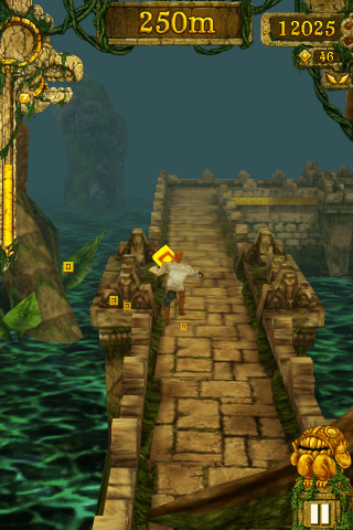 Collecting coins in Temple Run.