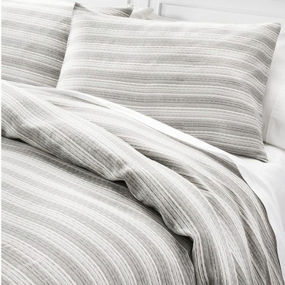 black woven abstract stripe duvet country bedding and sham set