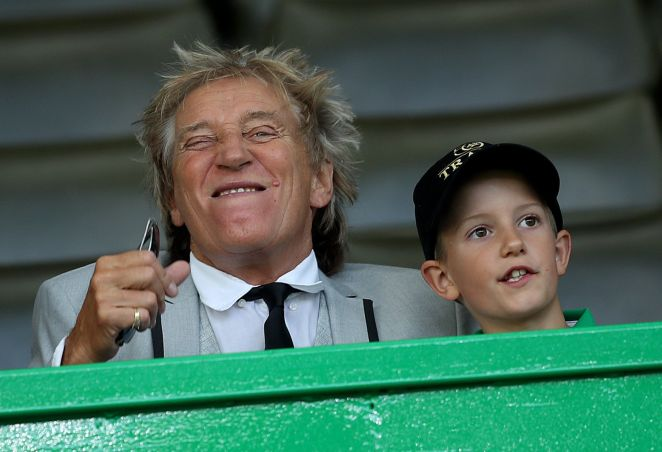 Sir Rod in the stands alongside son Aiden