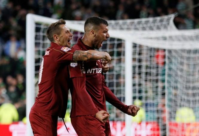 George Tucudean celebrates after scoring Cluj's winner