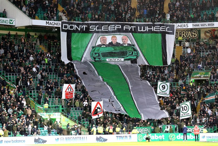 The Green Brigade held up the banner before kick-off
