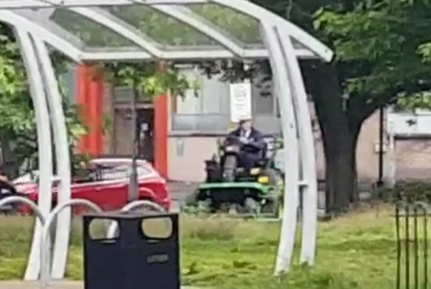 The multi-millionaire, 87, was filmed on his lawnmower at Uddingston Cross, Lanarkshire