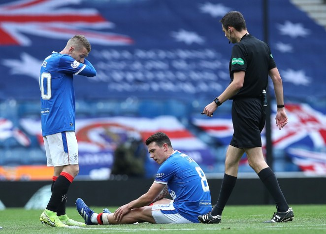 Ryan Jack was forced off inside the first ten minutes against Dundee United