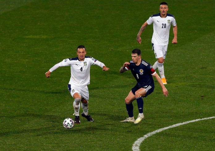 Jack in action for Scotland in the Euro play-off final in Serbia