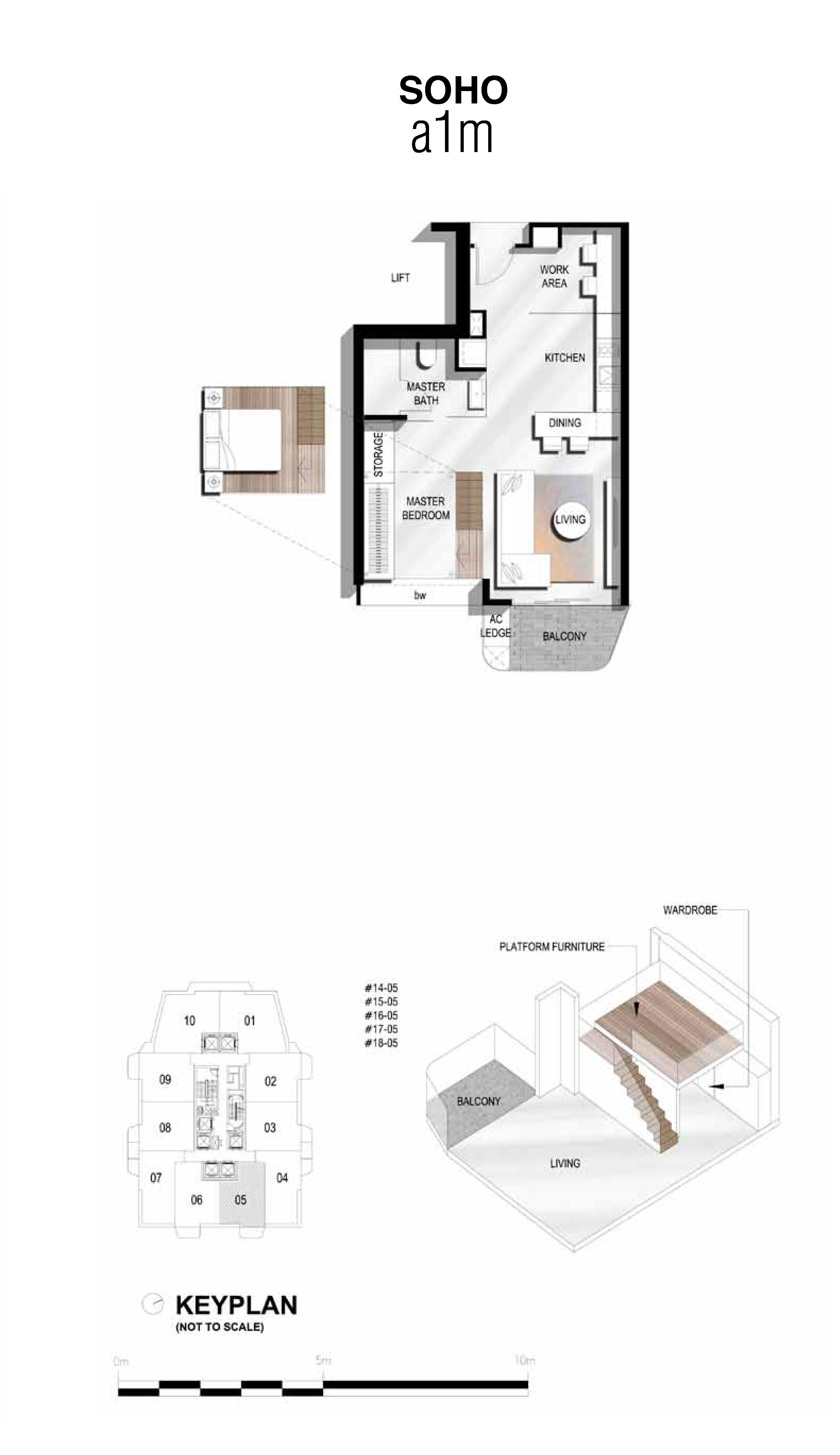 The Scotts Tower 1 Bedroom SOHO Type a1m Floor Plans