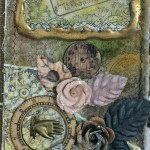 Madge Gillen close up of Mixed Media Canvas hot glue gun frame tip heartfelt creations all geared up stamps