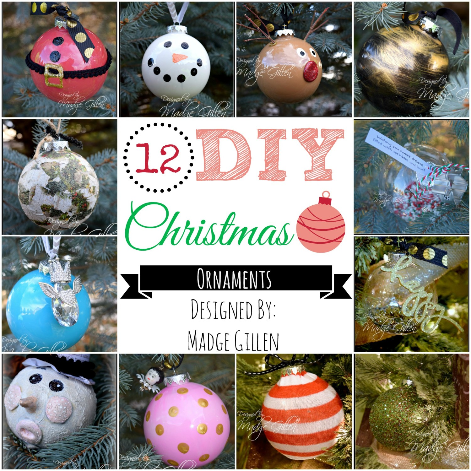 12 DIY Christmas Ornaments Collage