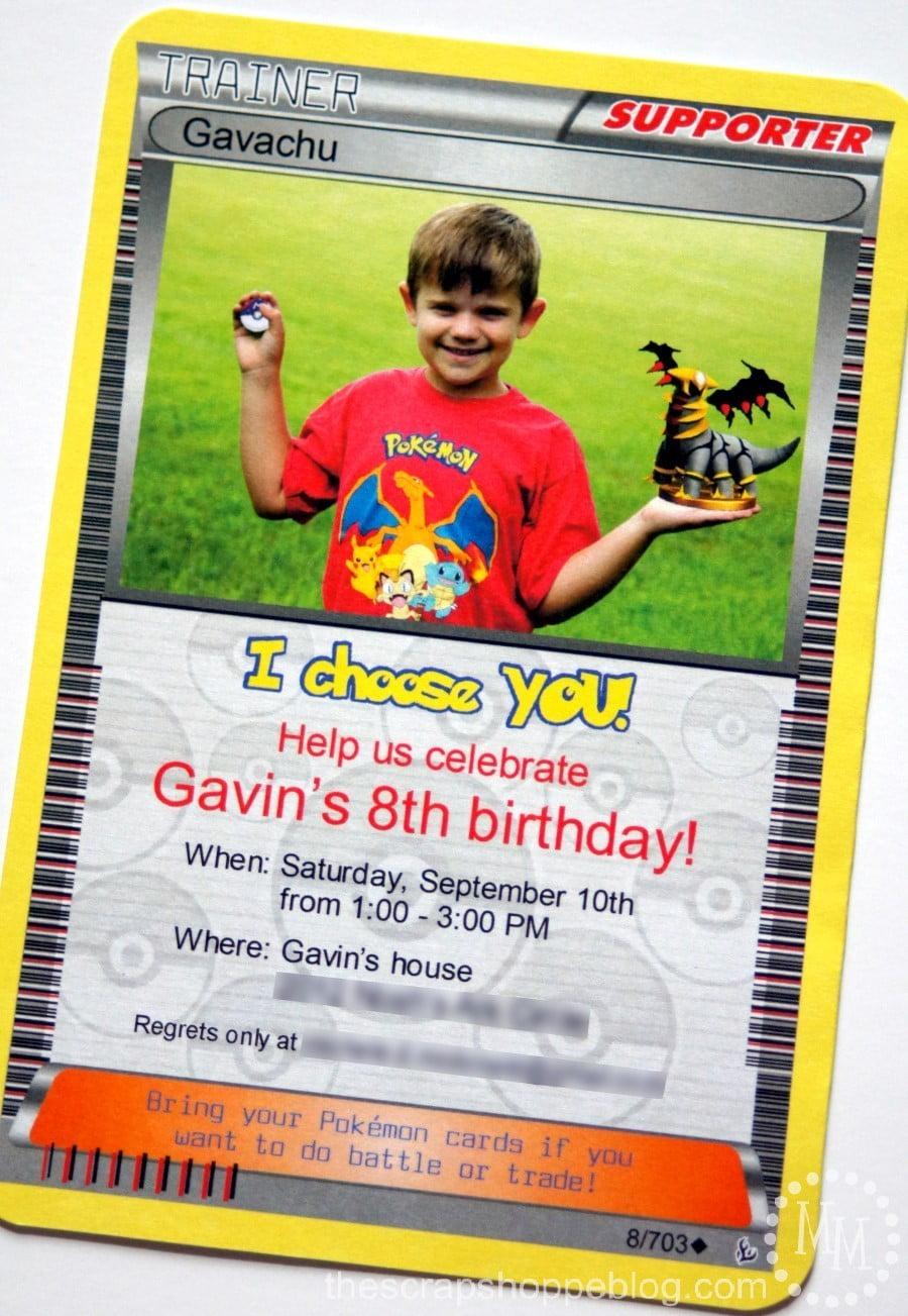 pokemon card birthday invitation the
