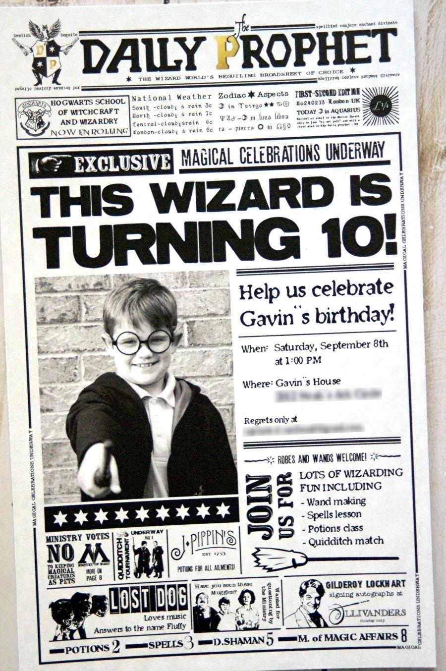 harry potter birthday invitation the