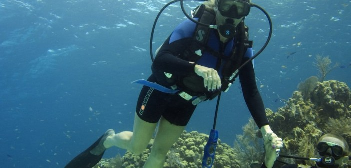 Paula Brazier and instructor Mike Schouten's on her first dive.